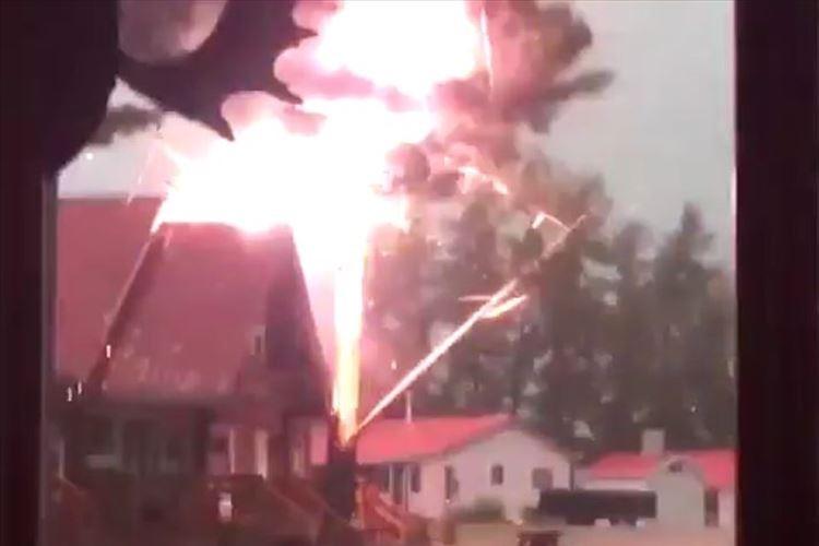 【動画】樹木に落雷が落ちる瞬間…凄まじい衝撃で樹木が割れて吹っ飛ぶ!