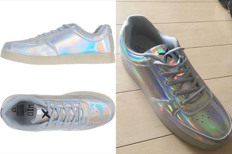 海外の通販でシルバーの靴を買って履いてみたら…まさかのパリピみたいな機能がついていた!