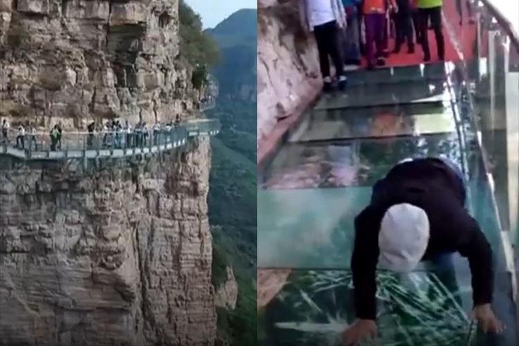 歩くとバキバキバキッ!とヒビが入る…中国の断崖絶壁にあるガラスの橋が怖すぎる