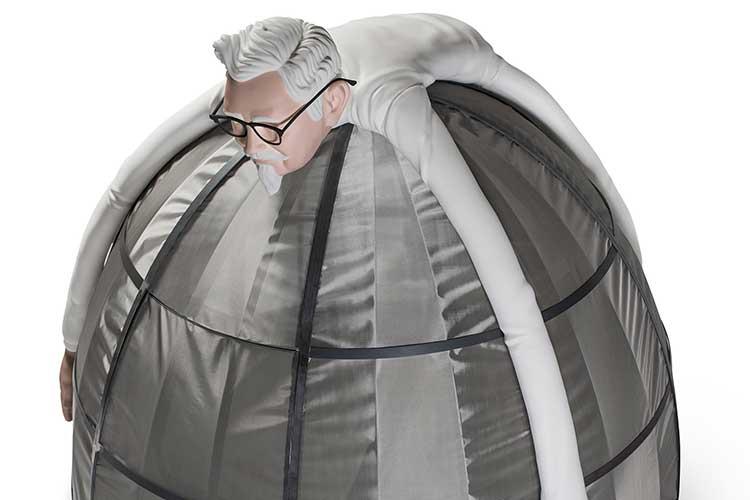 """何故か""""カーネルおじさん""""がインターネットから護ってくれる『電波遮断テント』が大反響!"""