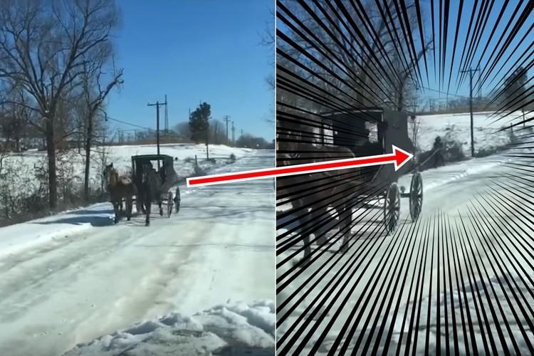 大寒波の影響でアメリカの田舎で流行?馬車スキーの光景がシュール