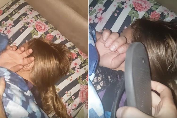 【いたずら動画】寝ているお母さんに、電話と偽りビーサンを渡してみた!