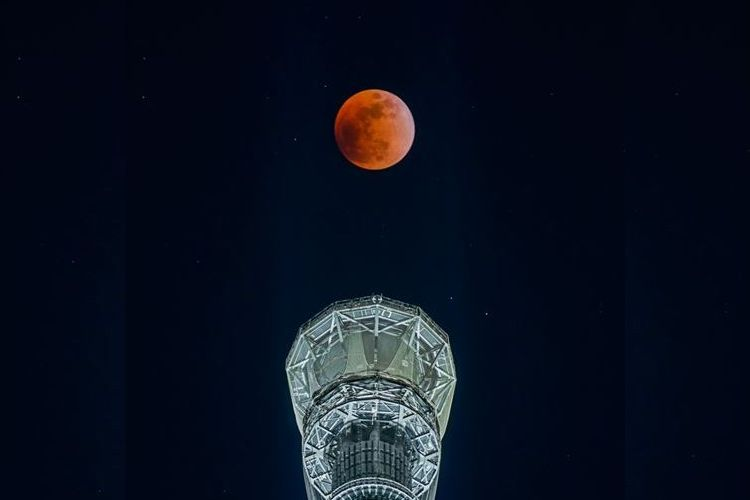 """幻想的で感動する!スカイツリーのてっぺんに浮かぶ""""皆既月食""""が美しい"""