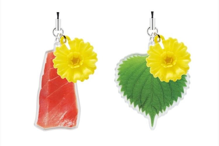 お刺身を彩る菊の花がストラップに!マグロやシソの葉との組み合わせなど全6種類
