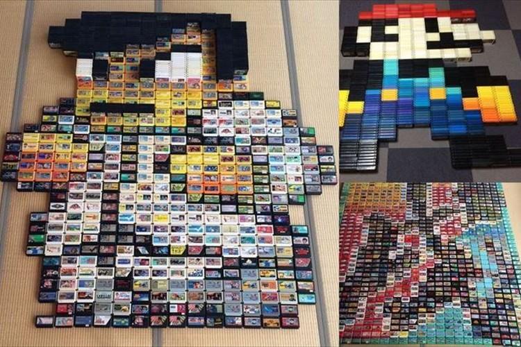 695本のファミコンソフトで『くにおくん』を表現!驚きのファミコンアートに反響