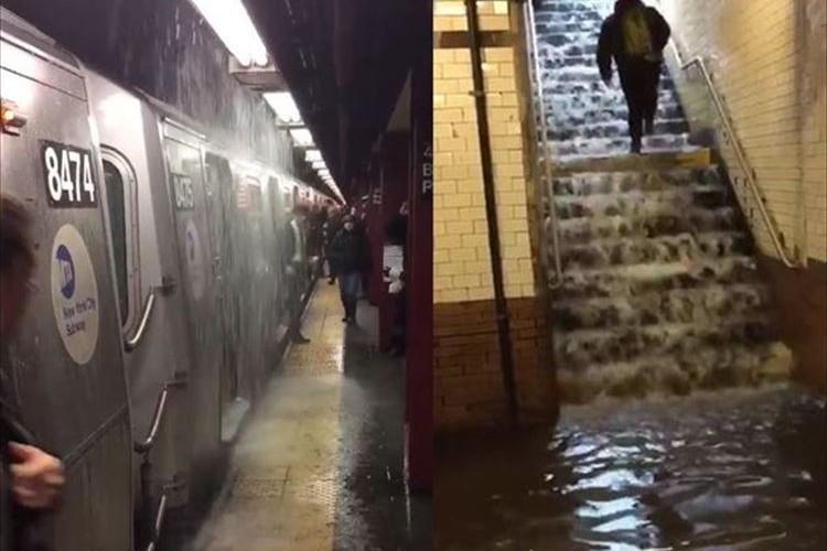 マジかよっ!ニューヨークの地下鉄の雨漏りがひどすぎる!車内では食事中の人も…