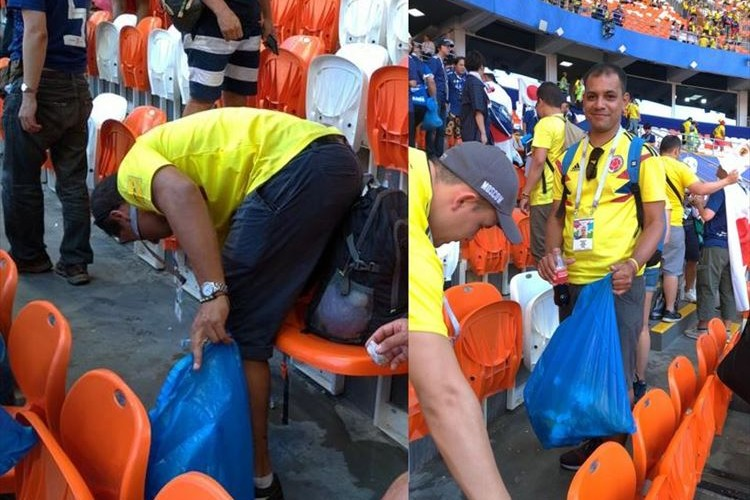 勝負よりも大切なこと…日本に敗れて失意のコロンビアサポーターが「ゴミを一緒に拾ってくれた」