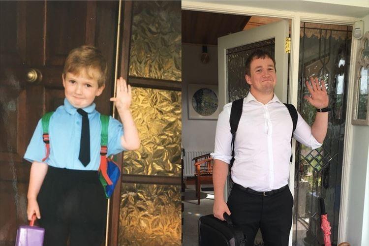 「小学校に入学した日」と「教職実習最後の日」の写真の対比がとても感慨深い!