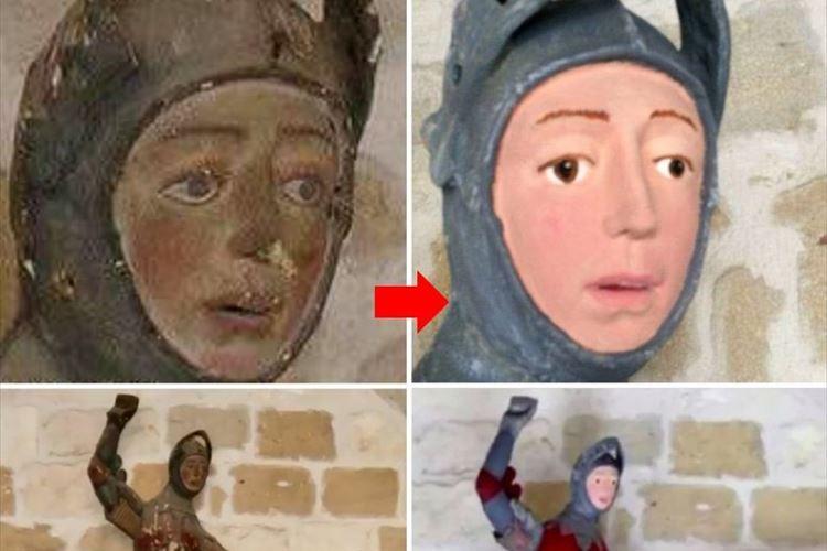 スペインの教会にある16世紀の彫像を修復したら、こんな風になっちゃった…