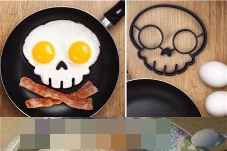 スカルの目玉焼きを作れるグッズで調理するも、出来映えがサンプルとは ...