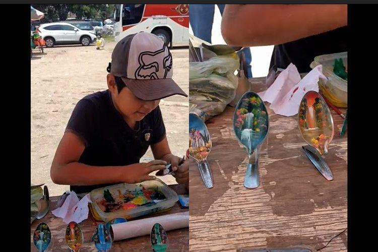 スプーンのアートで生計を立てている少年、高速で描くその出来映えが素晴らしい