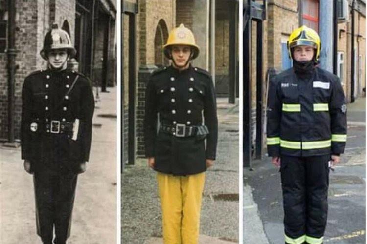 親子3世代で消防士…同じ場所、同じポーズで撮影した写真の比較が感慨深いと反響