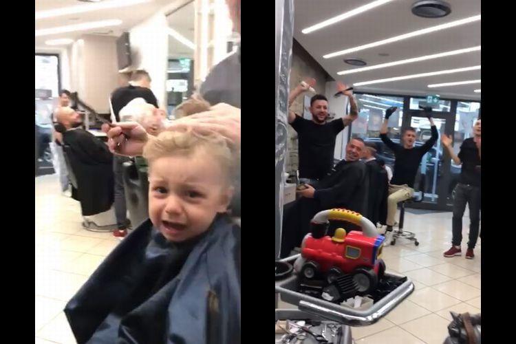 最高♪「初めての散髪」で泣いている赤ちゃんを、サロンスタッフ全員が大合唱して応援!