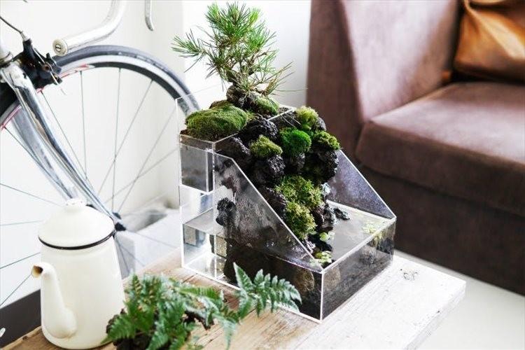お部屋で簡単に日本の自然を再現!水の流れる盆栽キット「盆水」が斬新で面白い!