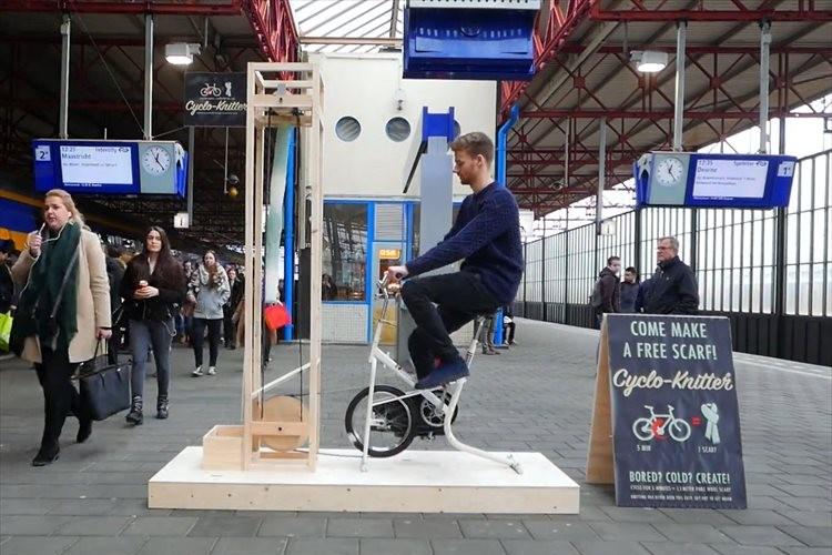 【発明】約7分間こぎ続けるとマフラーができる自転車が、ナイスアイディアだと話題に!