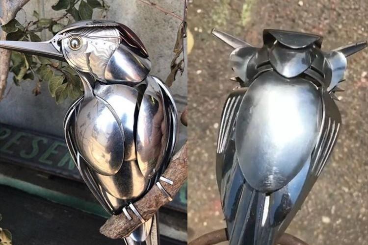 この発想はなかった!スプーンで作った鳥のクオリティが凄すぎる!トラやフクロウも傑作