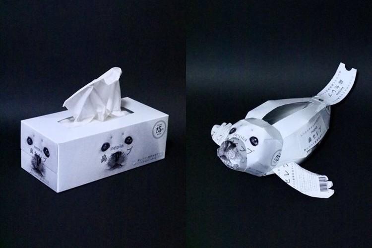「スゲ〜可愛い!しかも機能的!」鼻セレブの箱で作ったアザラシがナイスアイディアだと話題に!