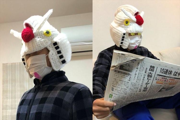 「編み上がれ~編み上がれ~編み上がれ~ガンダム~♪」編んで作ったガンダムの帽子が面白い