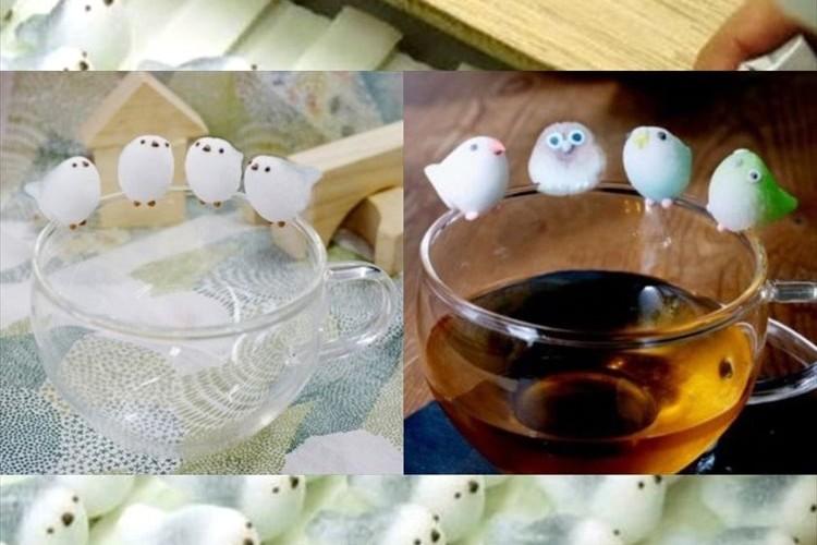 コップのフチにちょこんと止まる小鳥シュガーが可愛らしい♪ 雪の妖精シマエナガも仲間入り