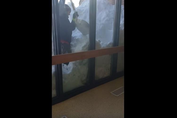 屋根の上から落ちてきた雪に埋もれたウサギ…雪をかき出して無事に救出!
