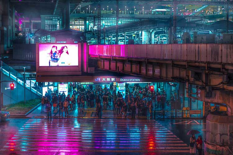 """サイバーパンクな世界が広がる!""""雨の大阪""""の写真がSF映画『ブレードランナー』のようだと話題"""