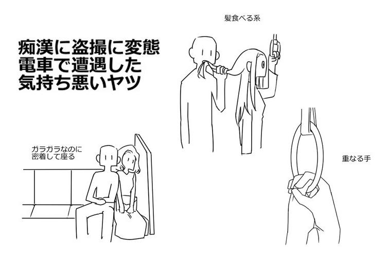 痴漢にも色々あって驚いた…電車の中で起こりうる痴漢行為のパターンをまとめたイラストが話題に!