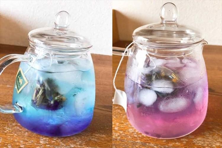 夏の星空をイメージしたハーブティーが美しいと話題に!ガラスの茶器で幻想的な水色の変化を楽しめる