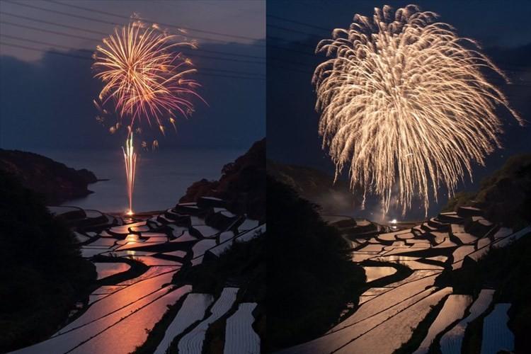 """まるで絵画のような美しさ…""""夕景で有名な浜野浦の棚田""""と""""花火""""が織りなす幻想的な光景に反響"""