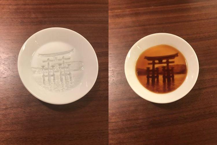 「醤油のコントラストがカッコイイ!」夕暮れの厳島神社が浮き上がる醤油皿がめっちゃおしゃれ
