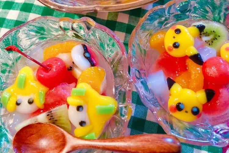 白玉で作ったポケモンのフルーツポンチが超可愛い!「ピカチュウしらたま」の作り方なども紹介!