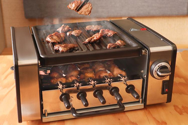 自宅で焼肉と焼き鳥を同時に楽しめる『焼き物大将』が登場!フランクフルトも焼けるよ!