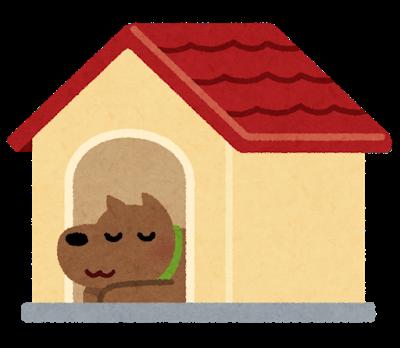 犬と犬小屋のイラスト