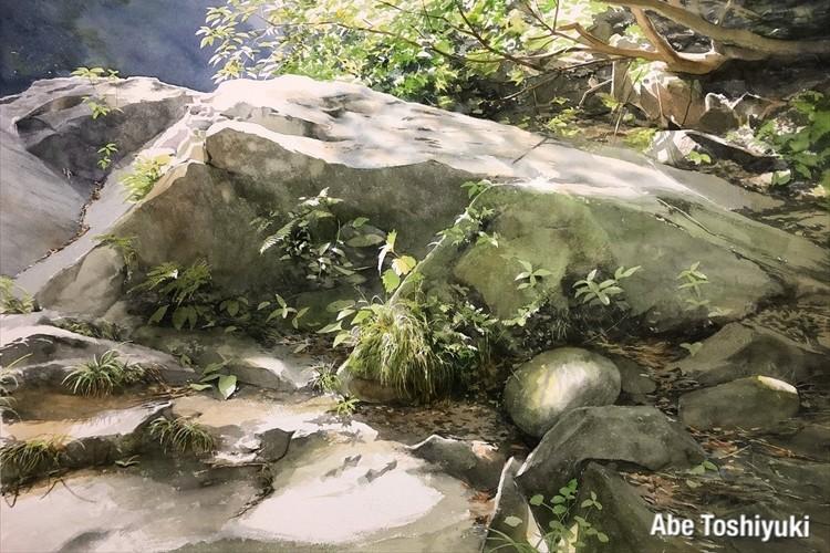 水彩でここまで表現できるなんて・・揺らぐ風や水の音が聞こえてきそうな水彩画に反響
