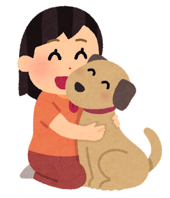 犬と女の子のイラスト