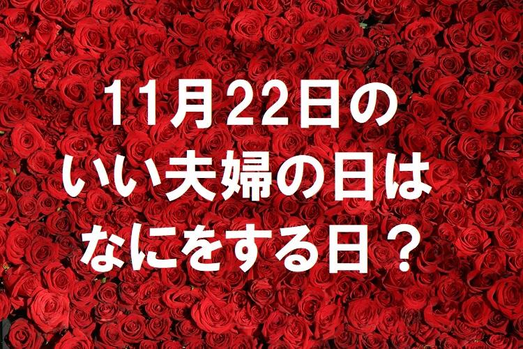 11月22日は「いい夫婦の日」・・・一体何をすればいい日なの?