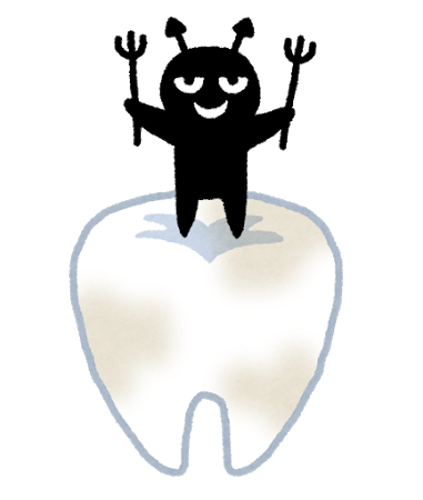 虫歯菌と歯のイラスト
