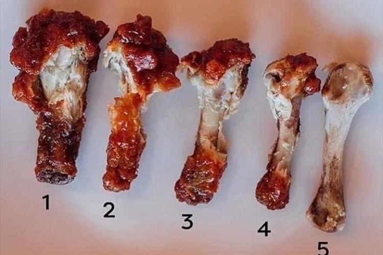 あなたは何番ですか?「骨付きチキンの肉をどれくらい食べるか」を問うツイートが話題に!