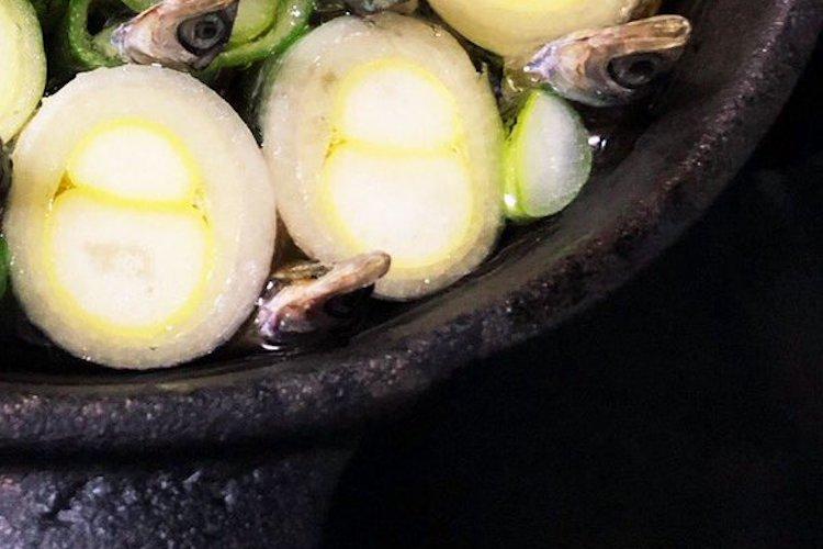 いつもはスルメイカで出汁をとるネギアヒージョ、小うるめでとってみたら・・・見た目が凄かった(笑)