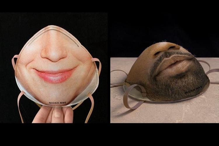 まるでマスクをしていないように見える!?顔の下半分をプリントしたマスクが開発中!