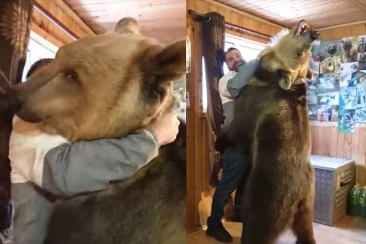 「中に人間が入っているみたい」巨大なクマとの迫力満点な抱擁シーンが話題に