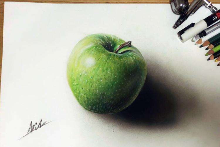 本物にしか見えない!色鉛筆で描いた青リンゴの絵がめちゃくちゃリアルで騙される