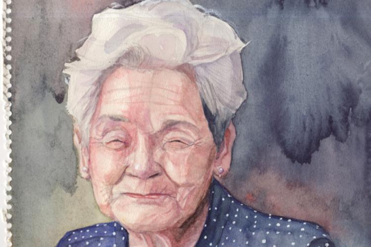 高校生の時に描いた祖母の絵・・・温もりと優しさが溢れていて胸がいっぱいになる