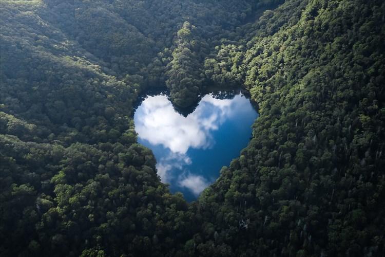 まるで森の中に空があるよう・・・北海道にあるハート型の豊似湖が話題に!