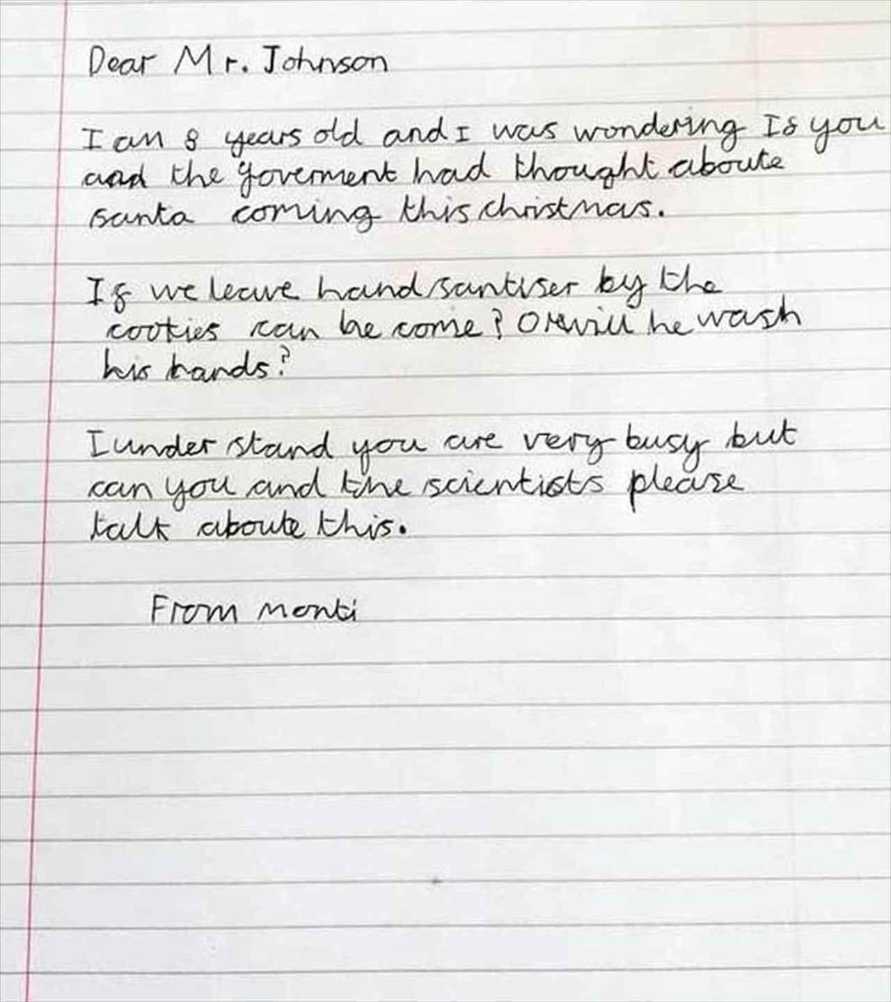 「サンタはクリスマスに来られますか?」コロナ禍で心配する男の子から届いた手紙に、英ジョンソン首相が神対応!
