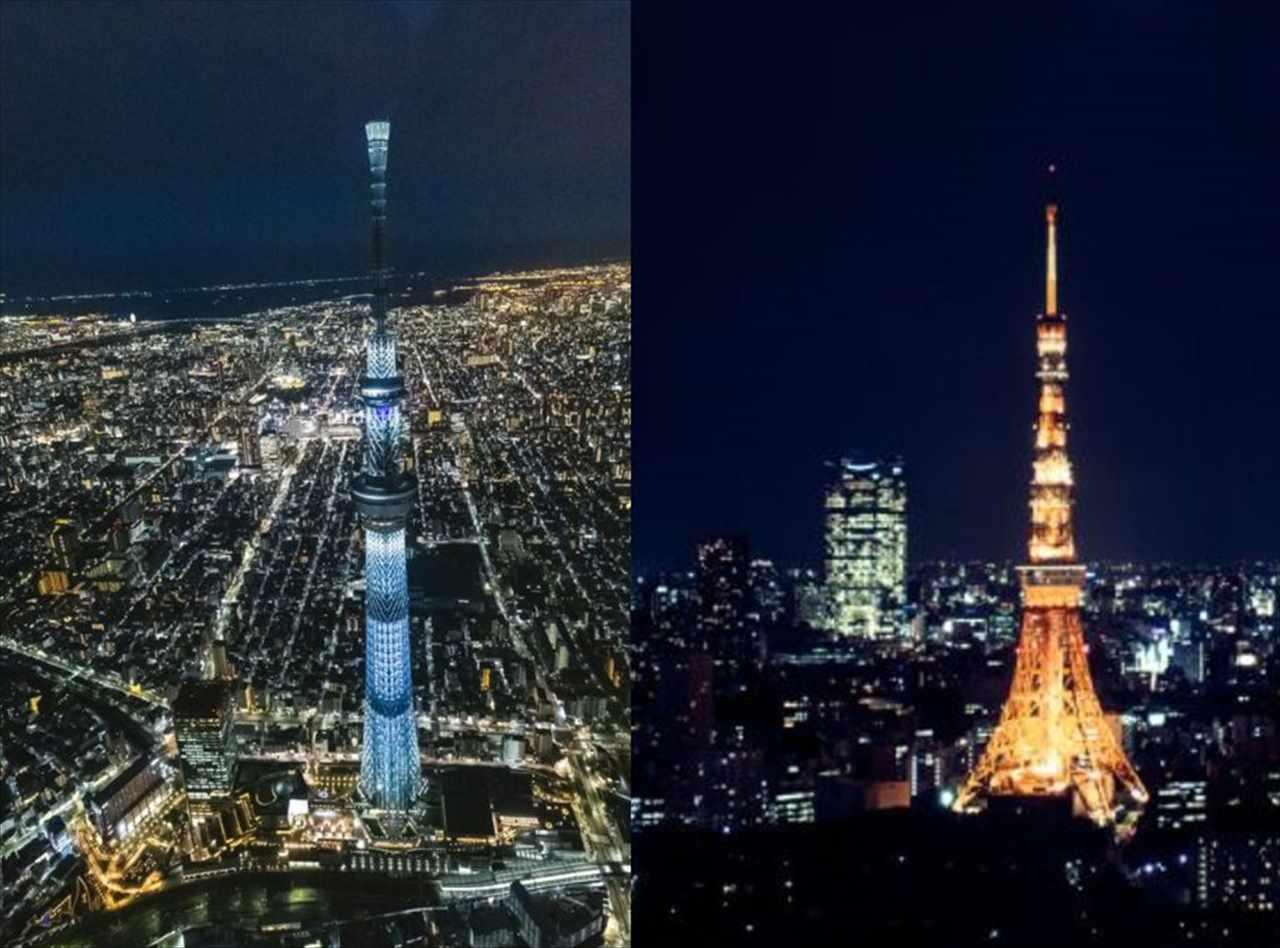 """【超貴重写真】東京スカイツリーと東京タワーが""""完全に重なる場所""""で撮影したら「東京スカイタワー」になった!"""