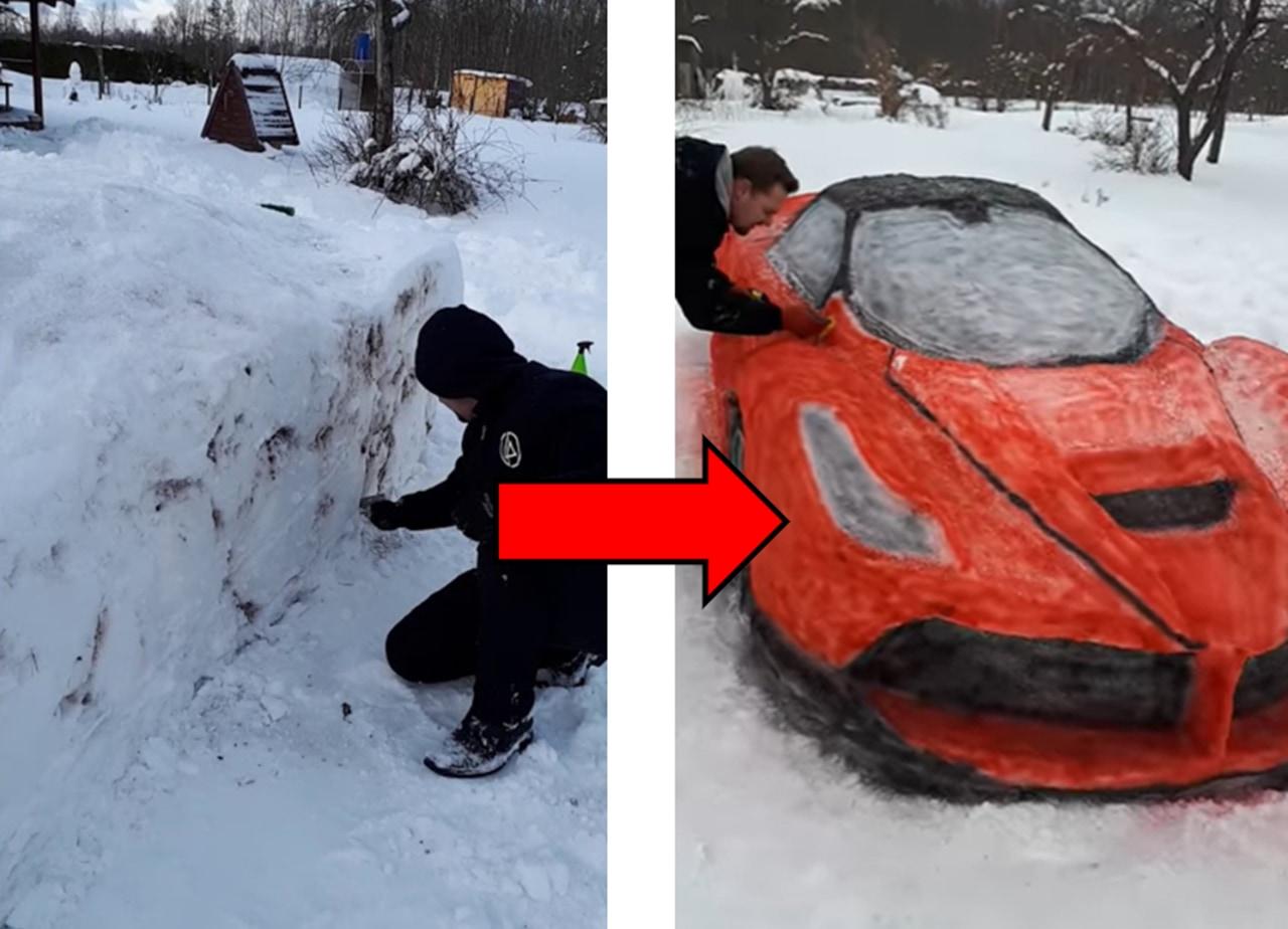 クオリティ半端ない!雪でフェラーリを作るカップルが凄い