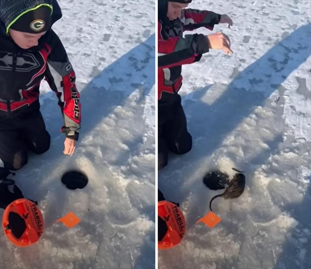 ウソ!?氷の下から釣れたのは魚じゃなくてネズミ!?こんな映像見たことない!