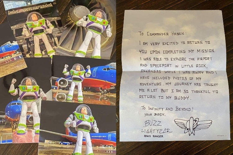 バズがミッションから帰還!機内に残されたおもちゃを発見した航空会社の神対応に感激!