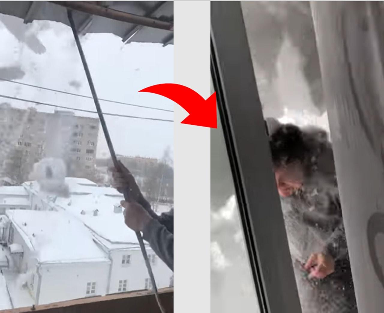 屋根の雪下ろしをする男性。この後とんでもない結末が...!