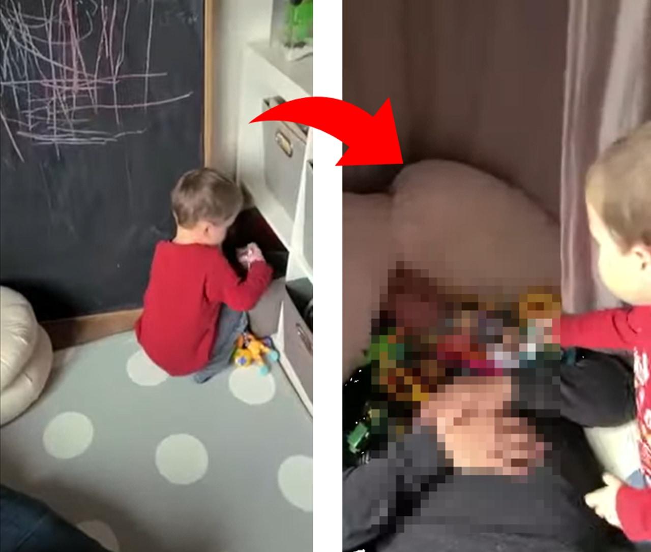 パパが子ども用ベッドで寝てしまった結果...驚きの結末が笑える!